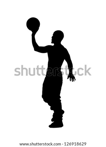 Silhouette image of a guy throwing volley ball against white background - stock photo