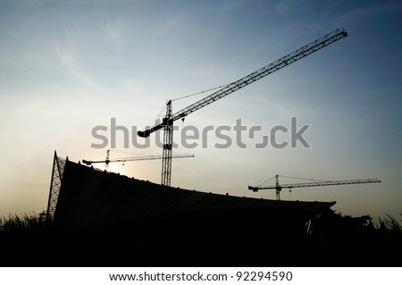 silhouette image of under construction site in Thailand - stock photo