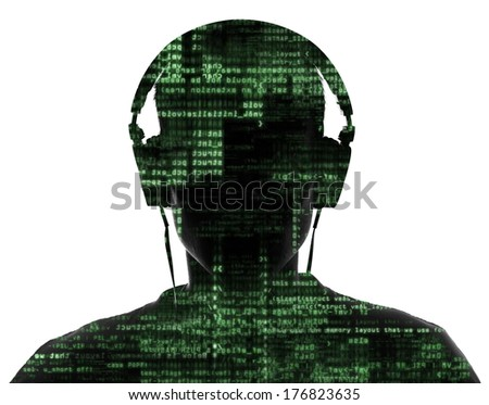 Silhouette  in camera with binary codes from monitor - stock photo