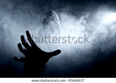 silhouette in smoke - stock photo
