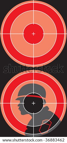 silhouette is visible through a sniper sight - stock photo