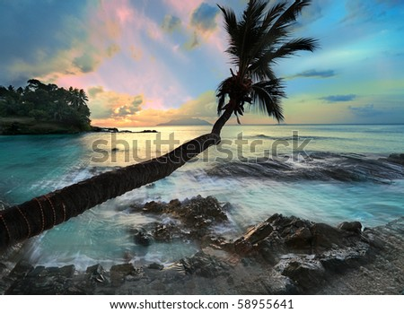 Silhouette Island in the Seychelles stunning  long Exposure study with strong light shafts - stock photo