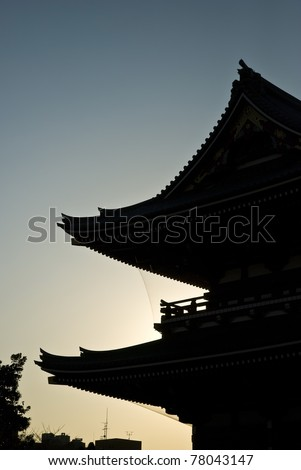 silhouette japan temple roof