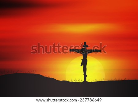 Silhouette Jesus and the cross over blurred sunset background. - stock photo