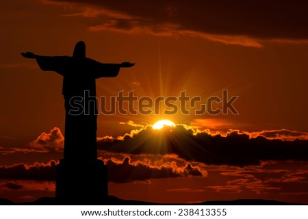 Silhouette Jesus and the  sunset