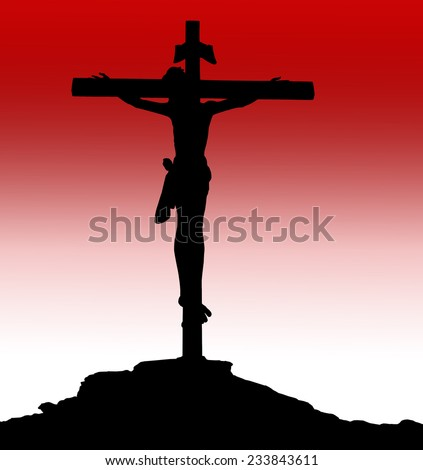 Silhouette Jesus on the cross over blurred sunset background. Worship, Forgiveness, Mercy, Humble, Repentance, Reconcile, Adoration, Glorify, Redeemer, Christmas concept. - stock photo