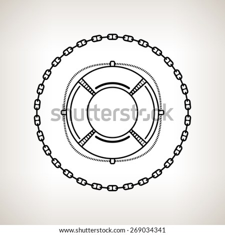 Silhouette lifebuoy, contour of the lifebelt in the circle of the chain on a light background,  black and white  illustration - stock photo
