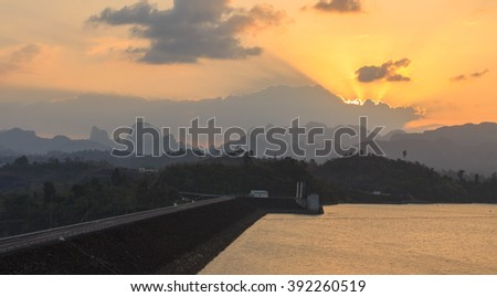 silhouette light rajjaprabha dam thailand surat thani sunset