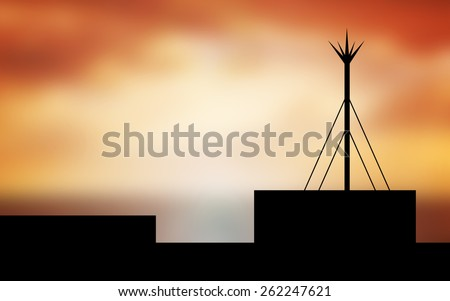silhouette lightning rod - stock photo