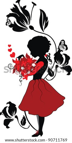Silhouette little girl with lovely bouquet valentine illustration