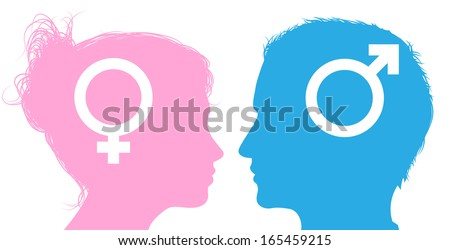 Silhouette man and woman heads with male and female sex symbol icons - stock photo