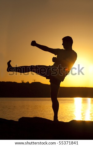 Silhouette Man karate in the sunset - stock photo