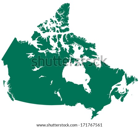 Silhouette map of the Canada  - stock photo