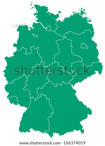 Silhouette map of the Germany