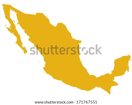 Silhouette map of the Mexico  - stock photo