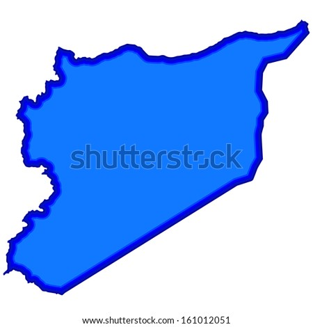 Silhouette map of the Syria. Source of map:  http://www.lib.utexas.edu/maps/middle_east_and_asia/syria_pol_2007.jpg - stock photo