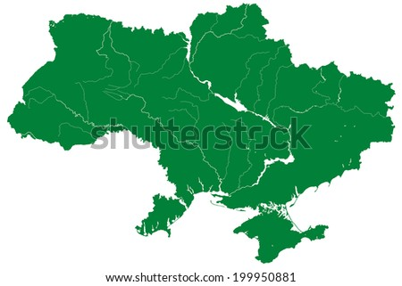 Silhouette map of the Ukraine.