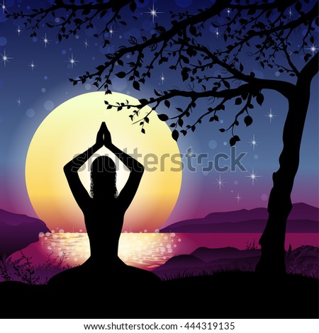 Silhouette Meditation with Nature and Sun on Background - stock photo