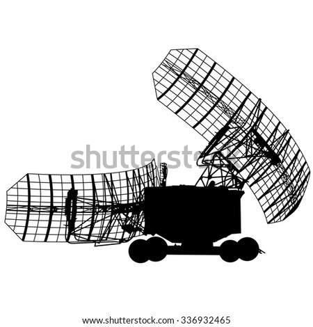 Silhouette  military radar dish. illustration.