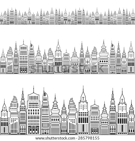 Silhouette Modern Big City with Buildings and Skyscraper, Architecture Megapolis, City Financial Center on a Light Background ,Black and White  Illustration - stock photo