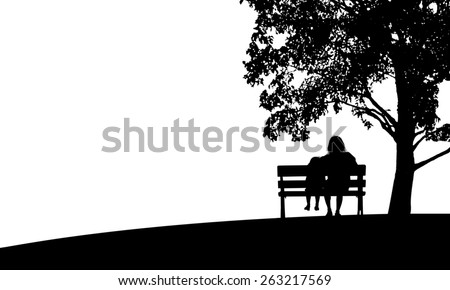 Silhouette mom and child relax under the tree on white background