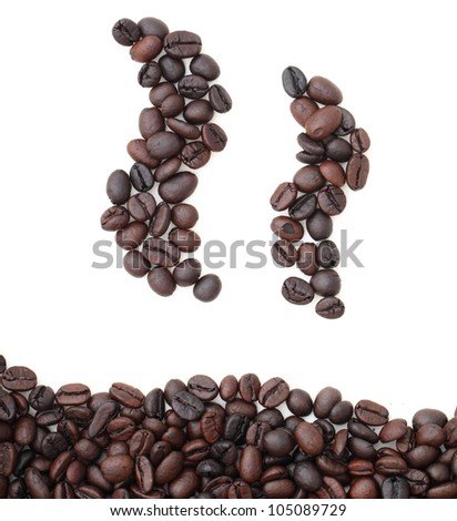 Silhouette mugs of coffee beans on the white background