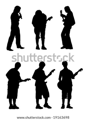 silhouette musician with guitar and singer.