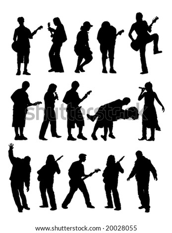 silhouette musician with guitar and singer. - stock photo