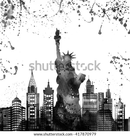 Silhouette New york city , Statue of Liberty .Watercolor.