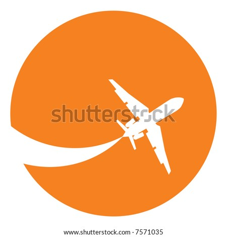 Silhouette of a aeroplane at sunset - stock photo