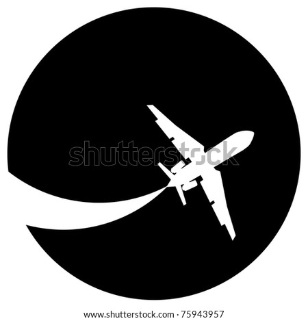 Silhouette of a aeroplane on a black background. - stock photo