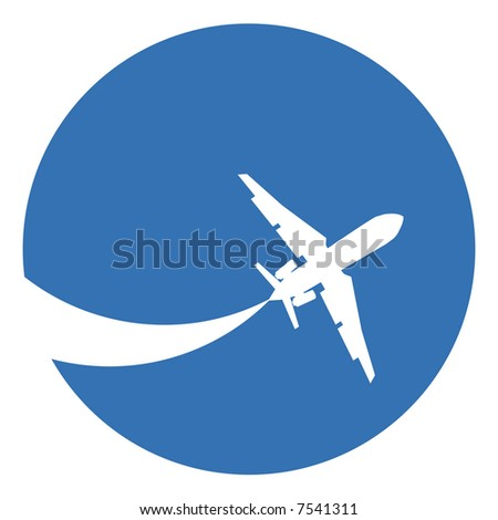 Silhouette of a aeroplane on a blue background. - stock photo