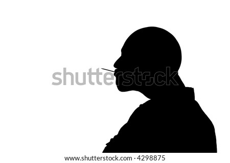 silhouette of a bald man with toothpick in his mouth - stock photo