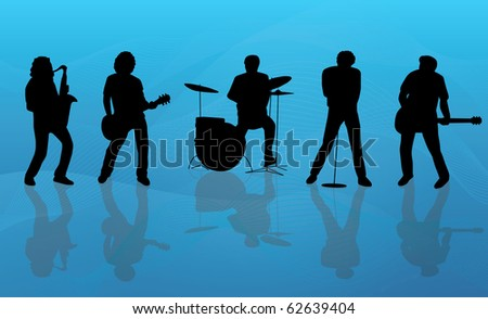 Silhouette of a band consisting of guitar drum saxophon and vocals on a blue background. - stock photo