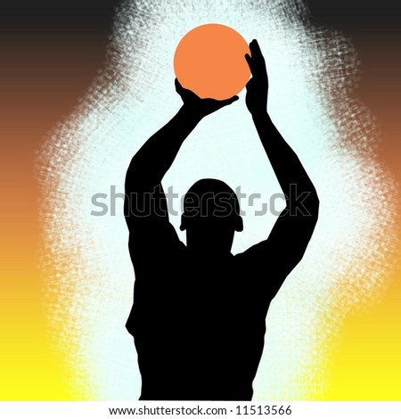 Silhouette of a basketball player over black orange and yellow background - stock photo