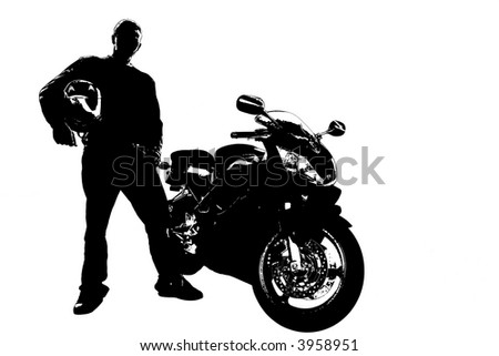 Silhouette of a biker standing next to his motorcycle. - stock photo