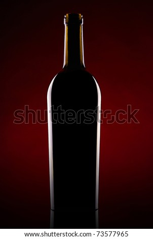 Silhouette of a bottle of wine on a dark background - stock photo