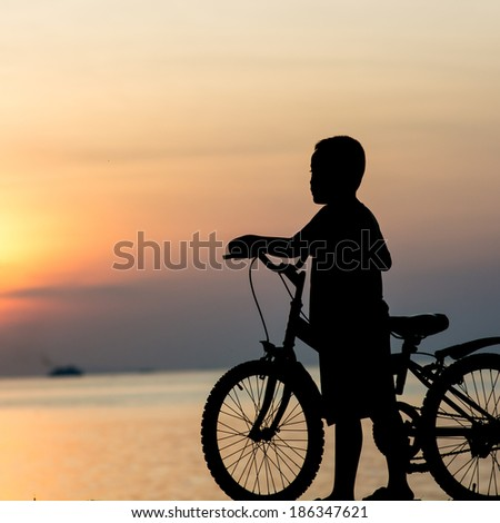 Silhouette of a boy on the beach during sunset.