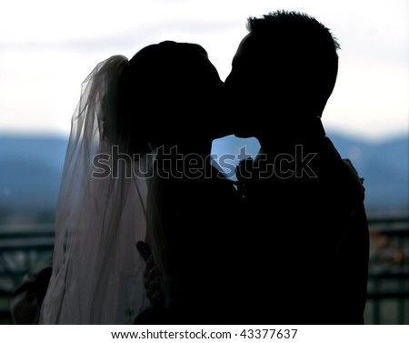 Silhouette of a bride and groom kissing at the alter - stock photo