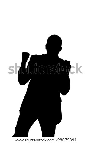 Silhouette of a business man successful  - with clipping path