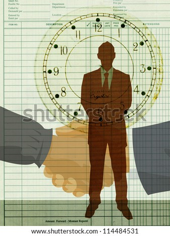 Silhouette of a businessman standing against a backdrop of two hands shaking - stock photo