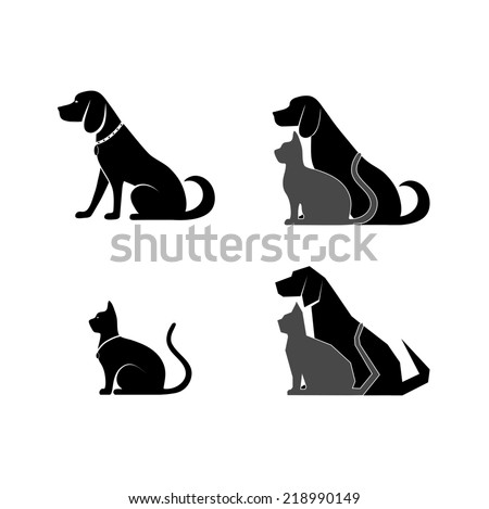 silhouette of a cat and dog for your design - stock photo