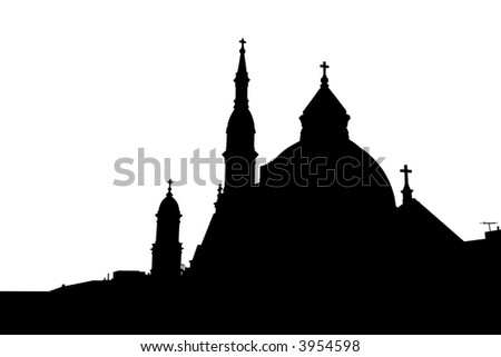 Silhouette of a Cathedral - stock photo