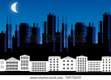 Silhouette of a city at night