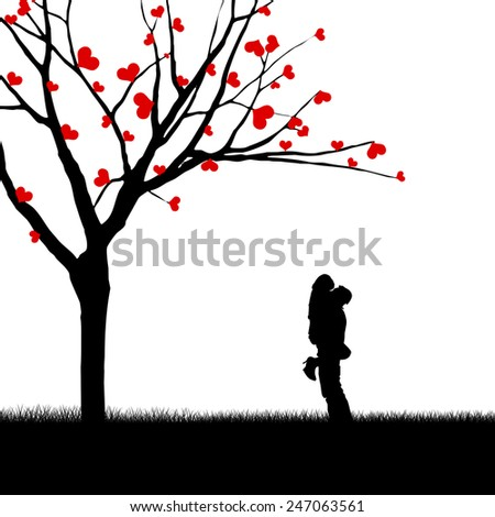 Silhouette of a couple hugging near a love tree
