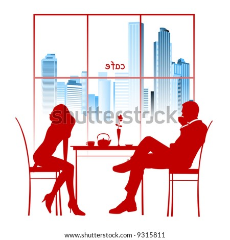 Silhouette of a couple in the cafe. - stock photo