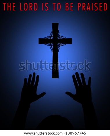 Silhouette of a cross with worshipper. - stock photo