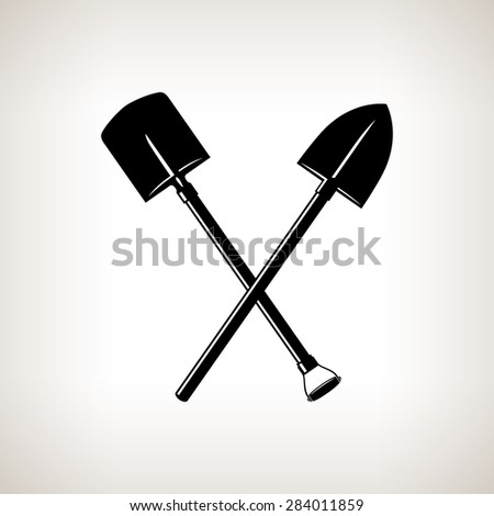 Silhouette of a Crossed Shovels on a Light Background, a Tool for Digging,Black and White  Illustration - stock photo