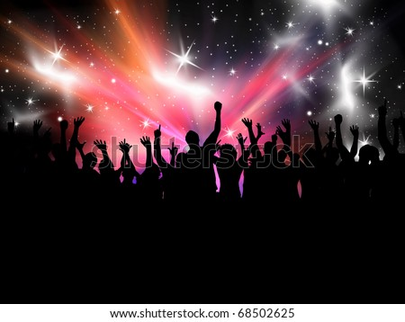 Silhouette of a crowd of party people on a star burst background - stock photo