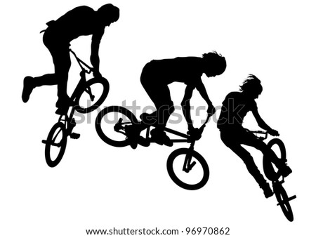 silhouette of a cyclist boy